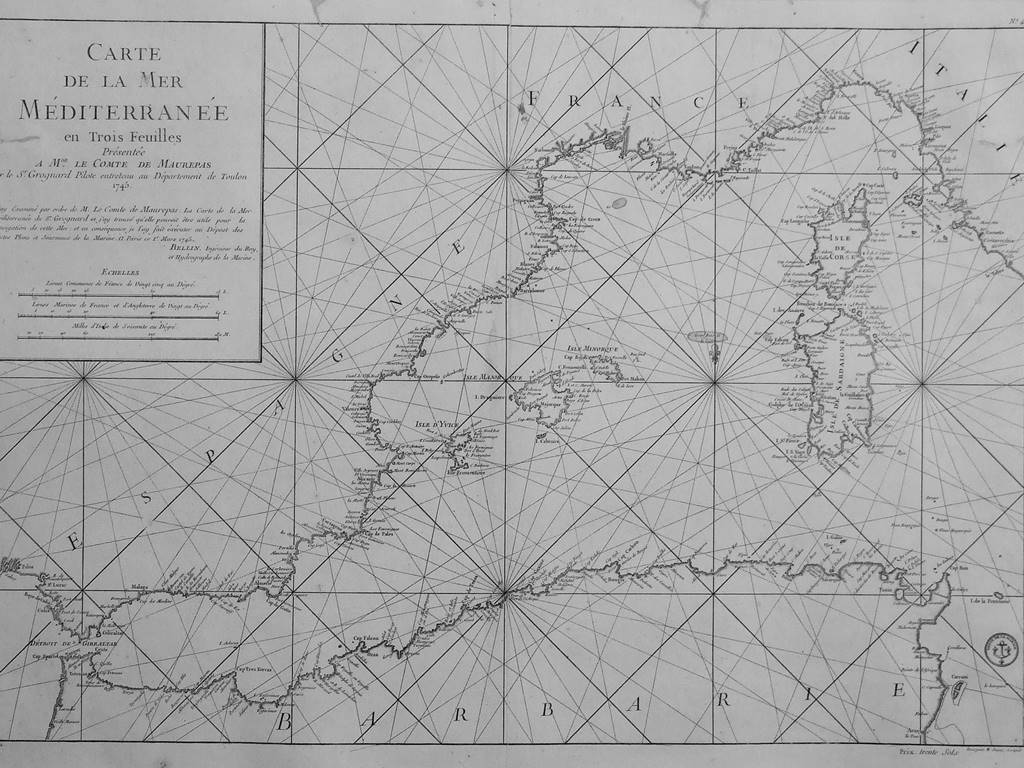 NAVIGATION CHART OF THE WESTERN MEDITERRANEAN