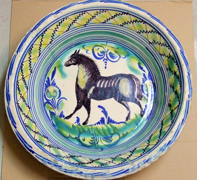 "EARTHENWARE BASIN FROM TRIANA OF THE ""MONTERIA"" (HUNTING) SERIES"